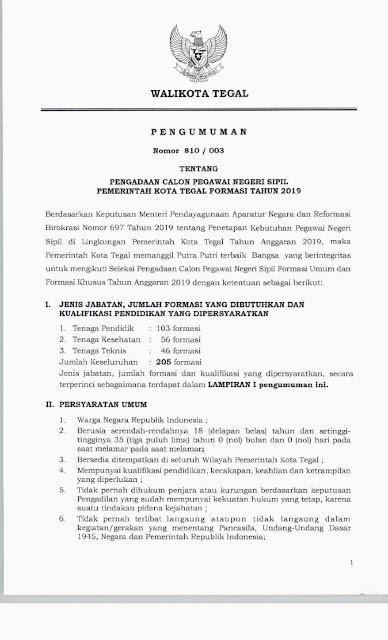 Pengadaan CPNS Pemerintah Kota Tegal Tahun 2019
