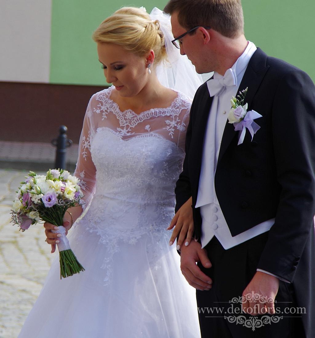 Biało fioletowy bukiet ślubny Nysa opolskie