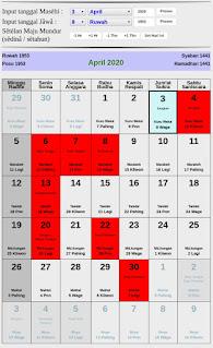 Kalender Jawa hari baik bulan april 2020
