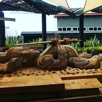A maori carving in progress.