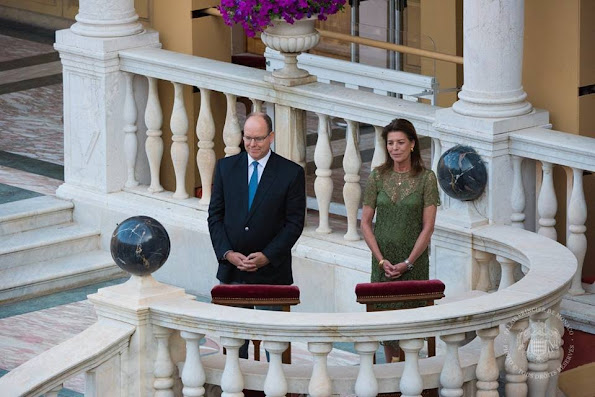 Prince Albert and Princess Caroline attended the celebrations of the Corpus Christi from the Gallery of Hercules at the Prince's Palace of Monaco. Princess Caroline style wore Lace dress spring summer 2016 dress fashion