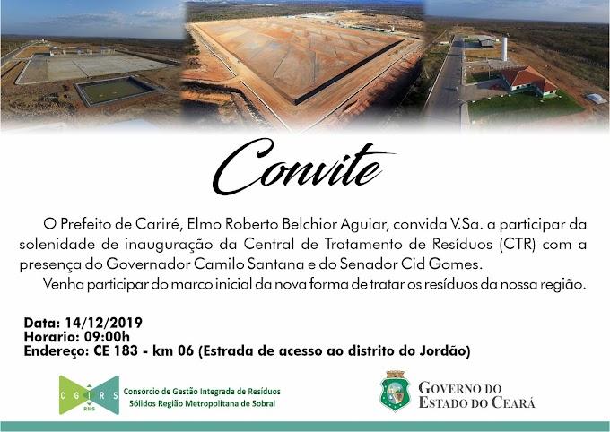 Dia 14/12, às 9h, será realizada a solenidade de inauguração da Central de Tratamento de Resíduos (CTR), na CE-183 - Km 06