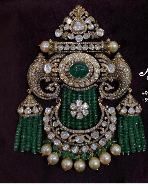 Polki Diamond Pendant with Beads