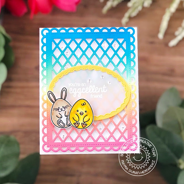 Sunny Studio Stamps: Eggs To Dye For Frilly Frame Dies Stitched Oval Dies Friendship Card by Mayra Duran-Hernandez