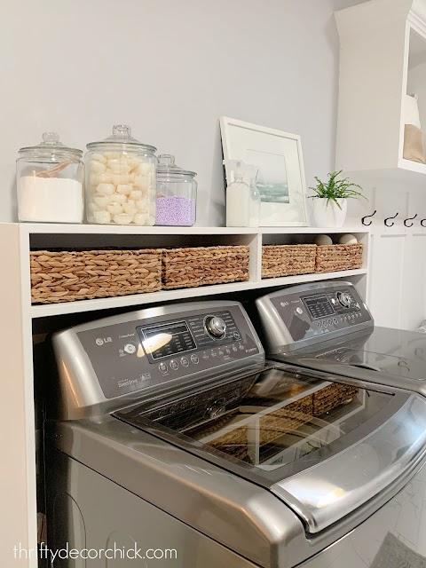 DIY long shelf built in over washer dryer