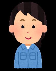 女性作業員の表情のイラスト「笑顔」