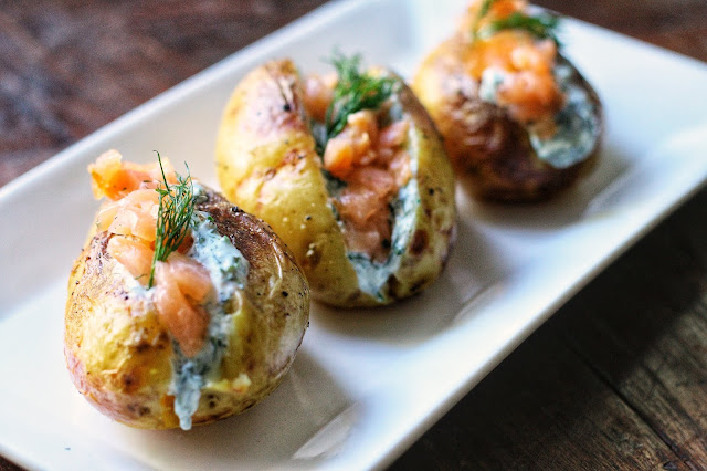 Jacket Potatoes with Herby Cottage Cheese and Smoked Salmon