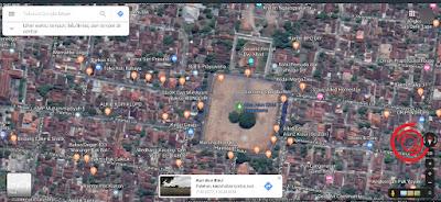 3. Kemudian cara bidang tanah yang ingin di ukur luasnya. Saya contohkan untuk mengukur luas Alun Alun Kidul Yogyakarta