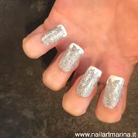 Unghie natalizie effetto argento glitterato!!!