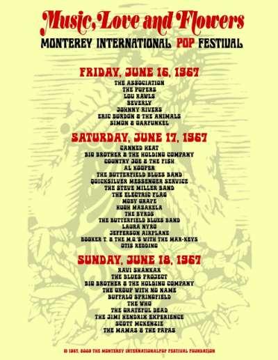 Monterey Pop Festival 1967 - Αφίσα με το line-up