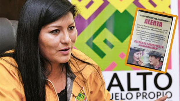 Los panfleteros descubiertos dependen del despacho de la ministra Wilma Alanoca /  MONTAJE