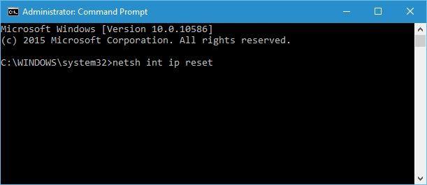 Masukkan kode netsh int ip reset dan tekan enter