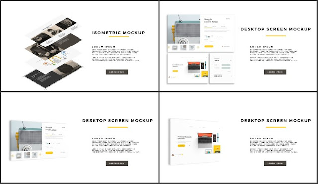 Desktop Screen Mock-up and Multi - Purpose Free PowerPoint Template [SIMPLE] Slides 49-52