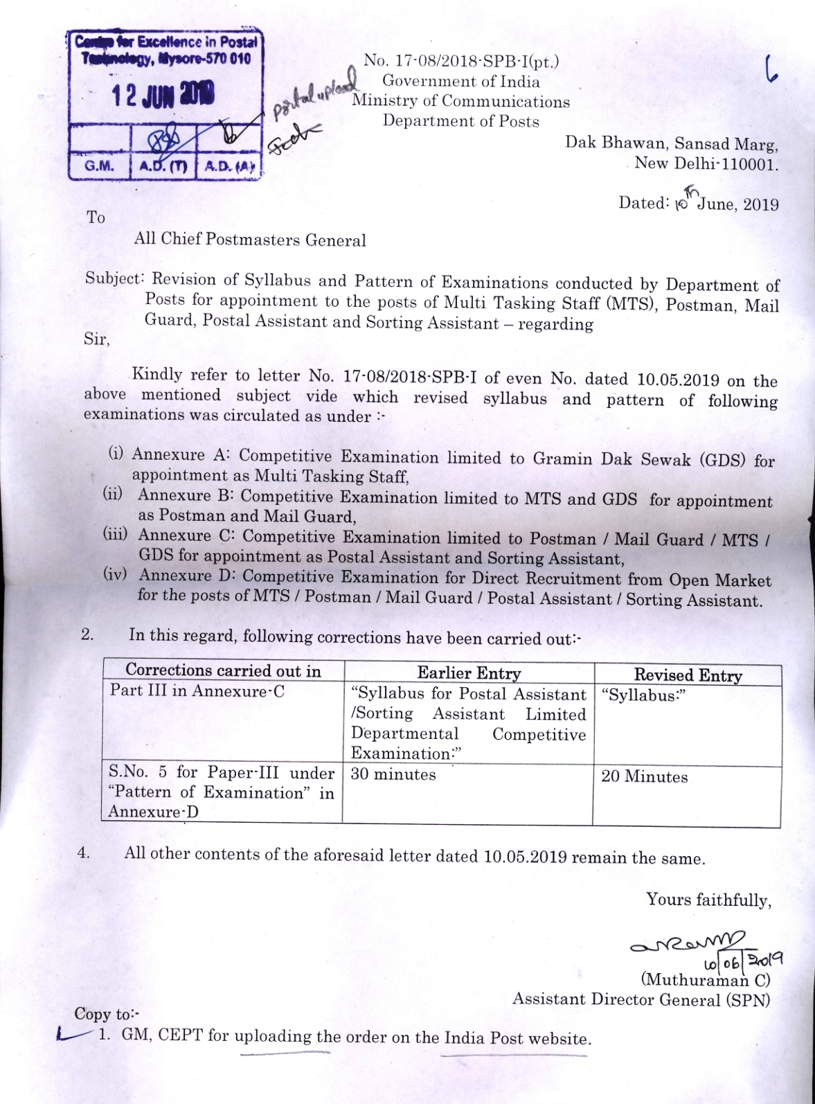 Revised Syllabus for Postal Assistant and Sorting Assistant Exam