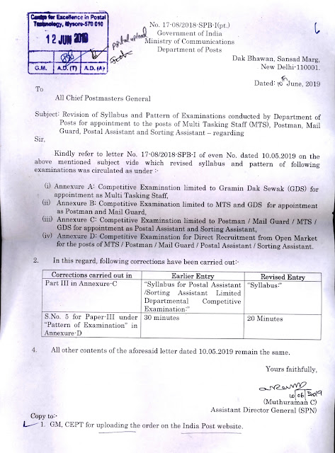 Revision of Syllabus and Pattern of Examinations conducted by Department of Posts for appointment to the posts of Multi Tasking Staff(MTS), Postman, Mail Guard, Postal Assistant and Sorting Assistant