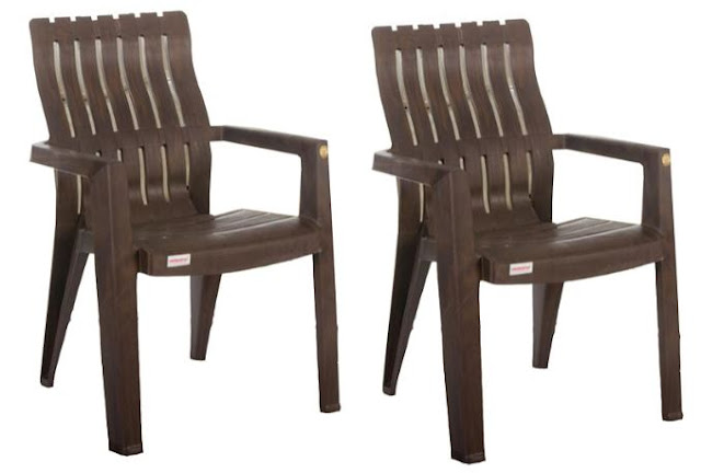 VARMORA Lumber Back Support Chair (Wood Colour)- Set of 2