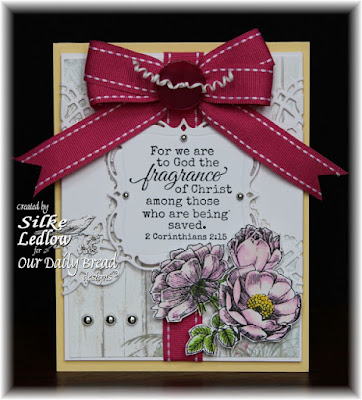 Our Daily Bread Designs Stamp sets: Fragrance, ODBD Custom Dies: Layered Lacey Squares, Doily, ODBD Shabby Rose Paper Collection