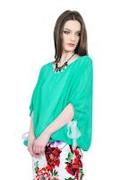 Bluza verde cu maneca tip fluture D2545-V