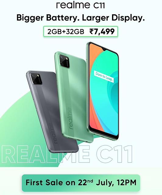 Realme C11 2gb रैम 32GB इंटरनल स्टोरेज और 5000 एमएएच की बैटरी के साथ यह Smartphone अपने प्राइस सेगमेंट में किंग है।
