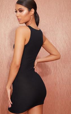 basic Black ribbed underbust bodycon dress back side
