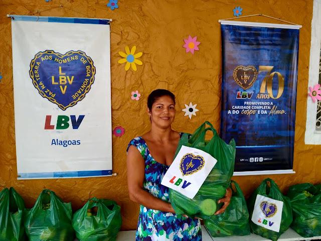 LBV arrecada alimentos e produtos de higiene para famílias pobres em Alagoas