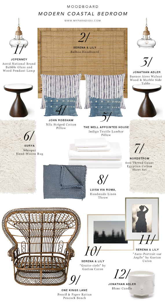 MOODBOARD: Modern Coastal Bedroom | My Paradissi