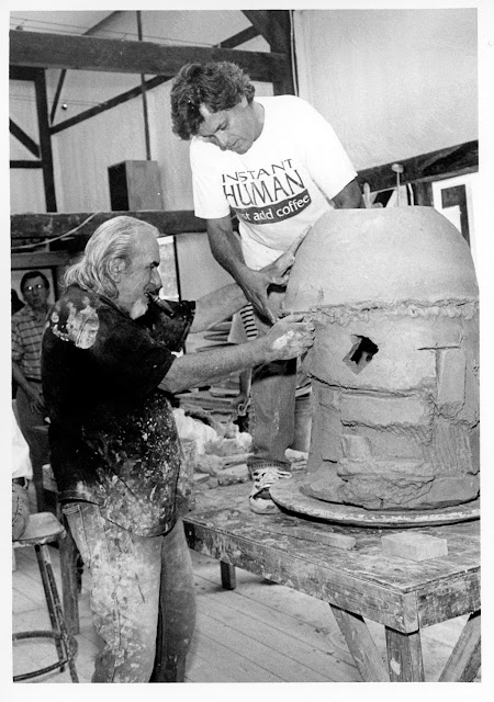 Contemporary Art Peter Voulkos and Peter Callas working on a 1998 Stack in Belvidere, NJ.