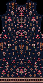 Flower Print Suit Kurti Textile Digital Design - Front 2737