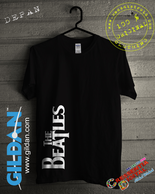 Kaos GILDAN The Beatles Warna Hitam
