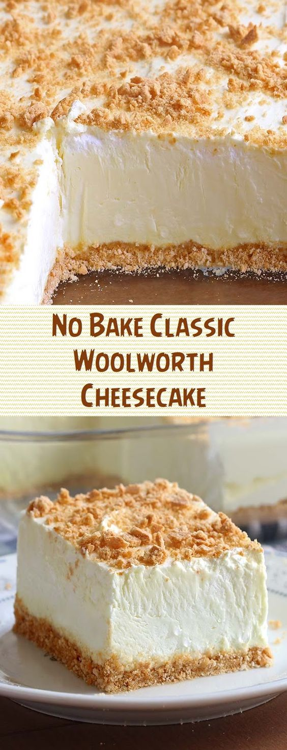 No Bake Classic Woolworth Cheesecake - No Bake Woolworth Cheesecake is a classic, light and lemony dessert and will be the perfect addition to your Easter or Mother's Day menu! #nobakedessert #cheesecakerecipes #woolworth