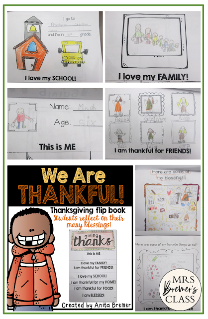 Thanksgiving booklets where students reflect on what they are thankful for. Makes a sweet keepsake! For Kindergarten, First Grade, and Second Grade