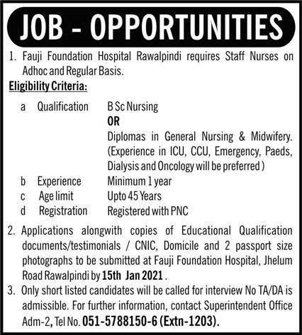 Fauji Foundation Hospital Rawalpindi Jobs 2021 Recruitment