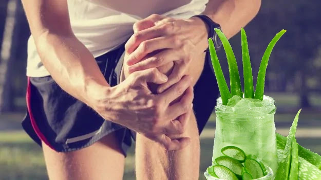 Apply aloe vera gel to Knee Pain Relief Home Remedy