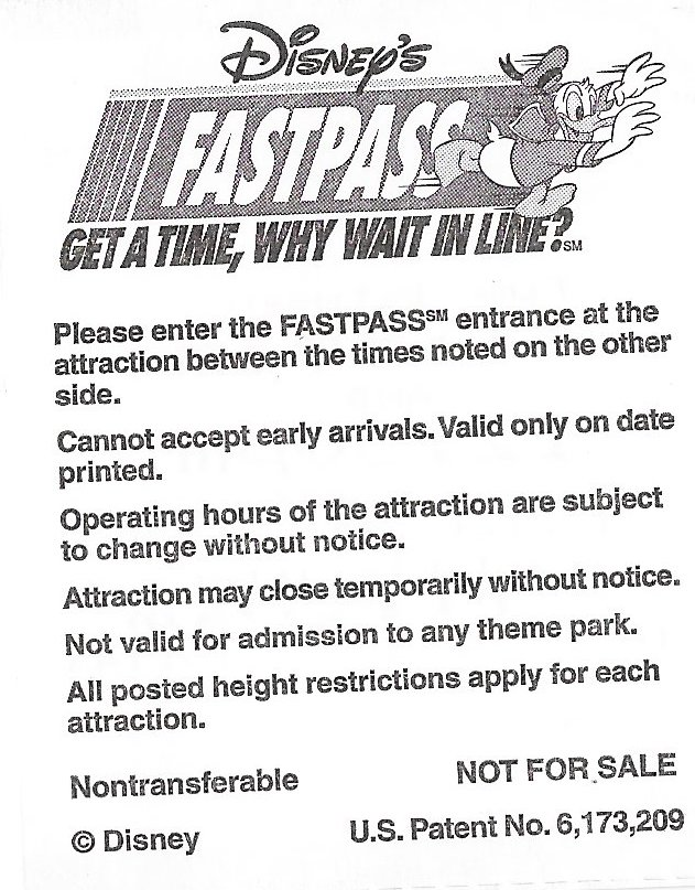 Disney World Fastpass Backside