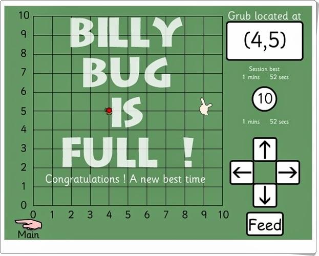 """""""Billy Bug 1"""" (Juego de sistema de coordenadas de Primaria)"""