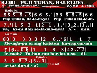 Lirik dan Not Kidung Jemaat 391 Puji Tuhan, Haleluya