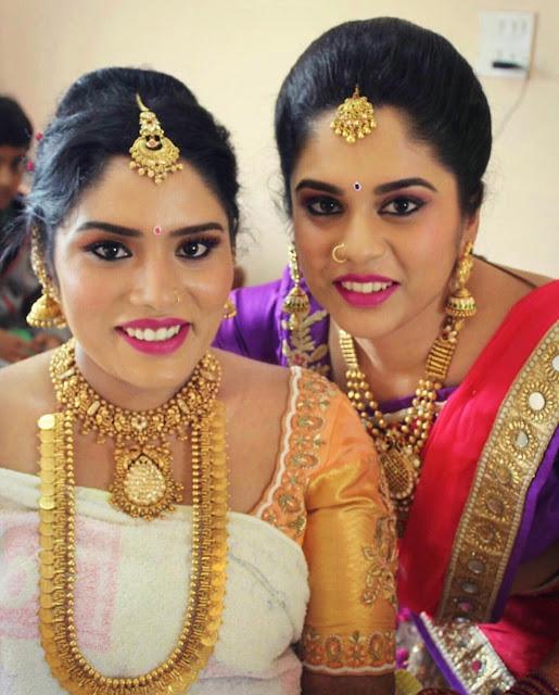 Bride in Heavy Kasu Mala Necklace