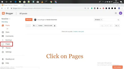 click on pages in blogger