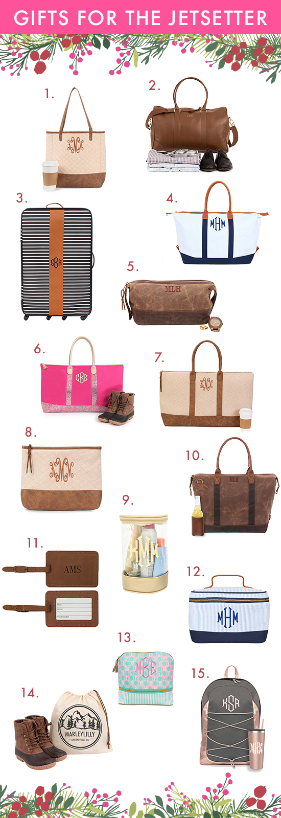 monogrammed gifts for the jetsetter
