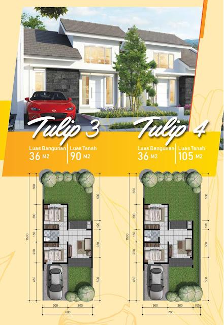 Desain Fasad dan Denah Rumah Tulip 3 & 4 Citra Indah City