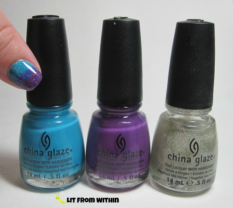 Bottle shot:  China Glaze Wait 'n Sea, X-Ta-Sea, and Fairy Dust.