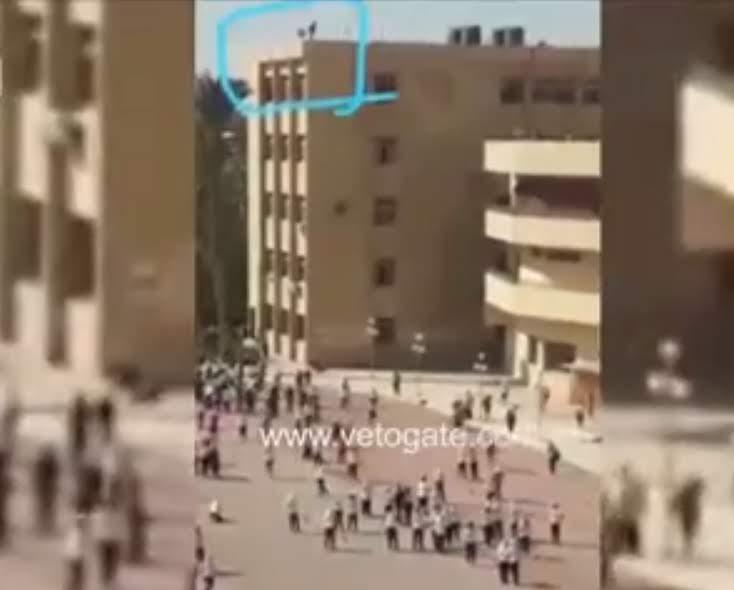 عاجل بالفيديو لحظة محاولة انتحار طالبة بإلقاء نفسها من أعلى مبنى جامعة الزقازيق