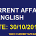 Today Important Current Affairs in English [ 30 October 2019 ] | Today's News Headlines