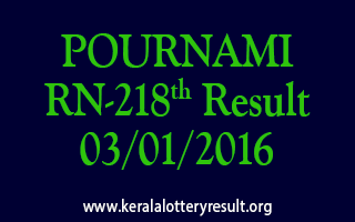 POURNAMI RN 218 Lottery Result 3-1-2016