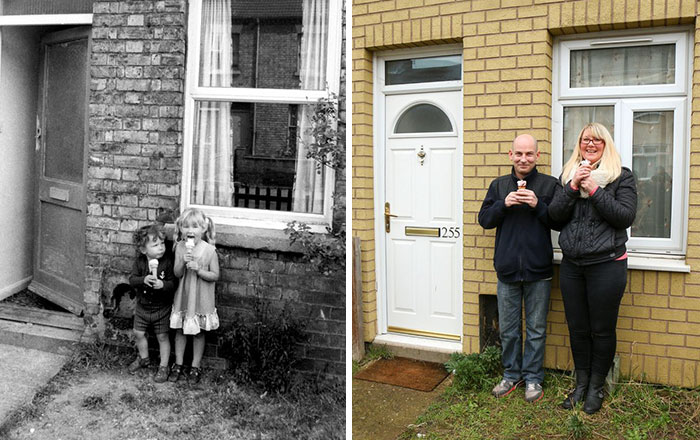 Photographer Recaptures Old Pictures Creating A Beautiful Reunion Of People He Photographed Decades Ago - Ice Creams (1981 And 2015)