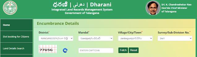 land encumbrance details search telangana dharani