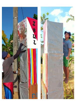 Tim KKN UBB XV Bangun Gapura, sinergi pemuda desa upaya pelegkap fasilitas ke area wisata bukit Ibul.-wisataibul.com