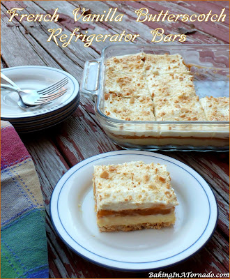 French Vanilla Butterscotch Refrigerator Bars are a no-bake dessert. A vanilla cookie crust is topped with both French Vanilla and creamy butterscotch layers. No baking required, refrigerate and serve. | Recipe developed by www.BakingInATornado.com | #recipe #potatoes