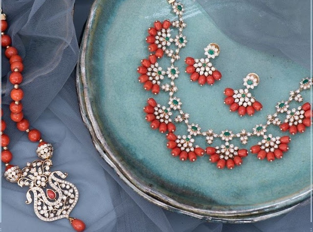 Floral Diamond Coral Sets by Vaibhav Jewellers