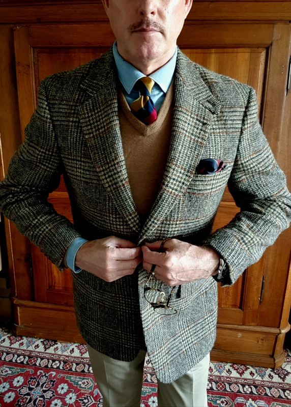 Front View Harris Tweed by Barutti - Prince of Wales check